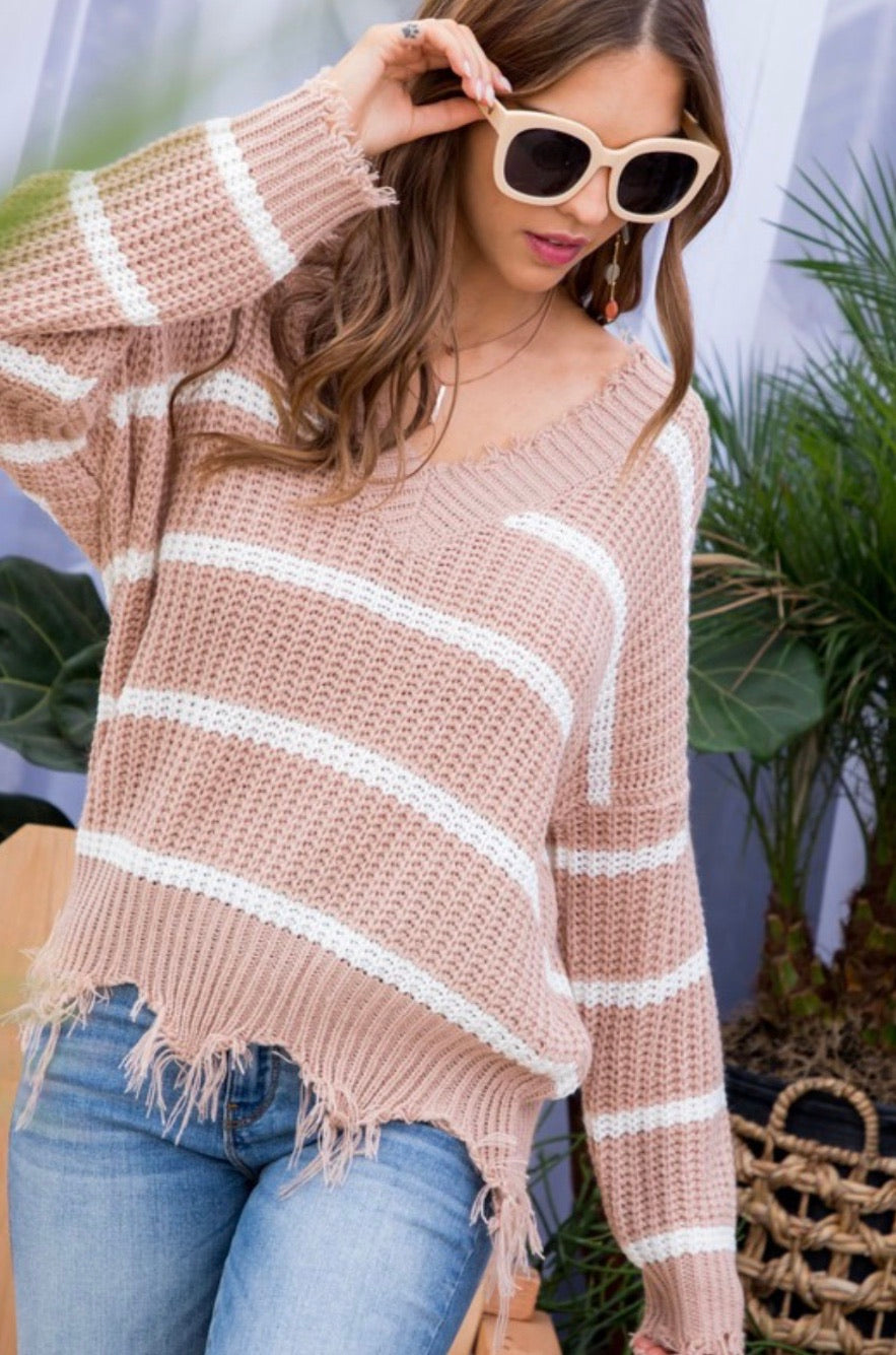 Striped Frayed V Neck Sweater
