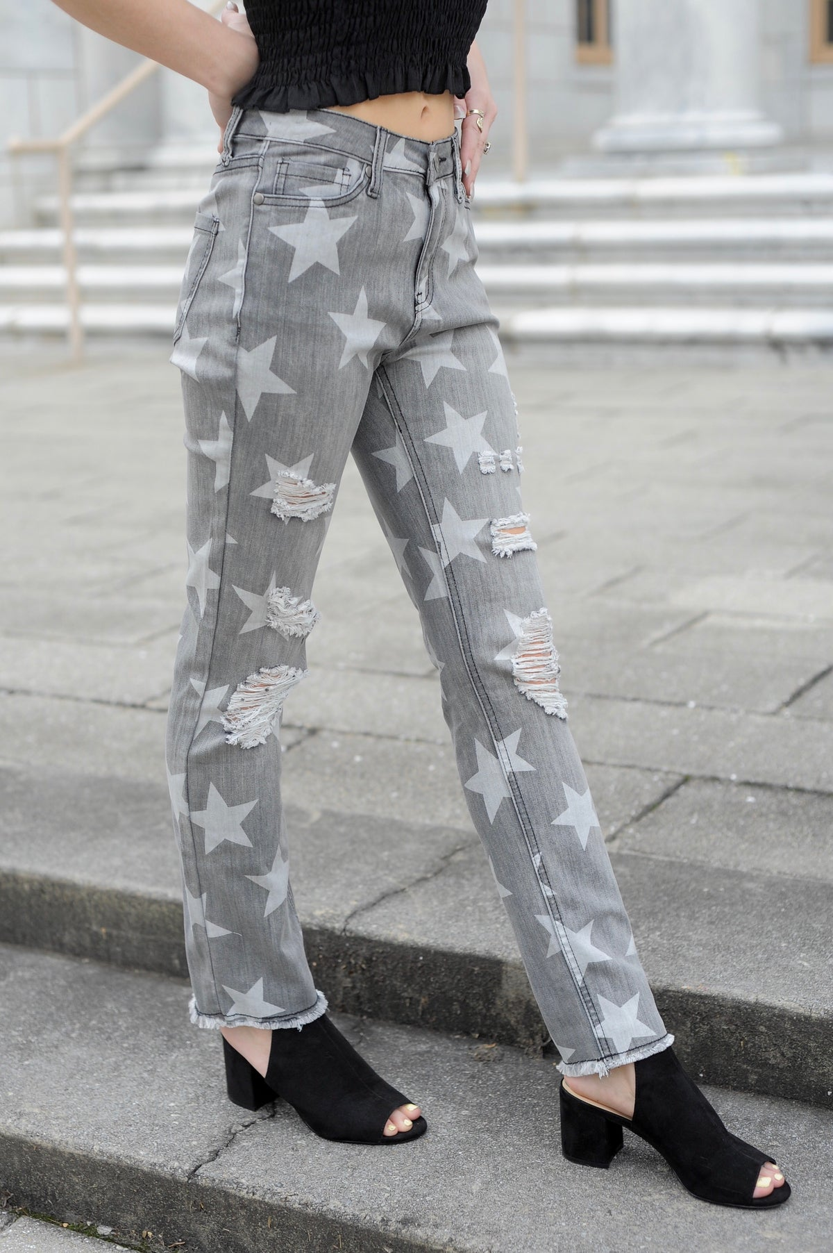 Star Print Distressed Jeans - Black Denim