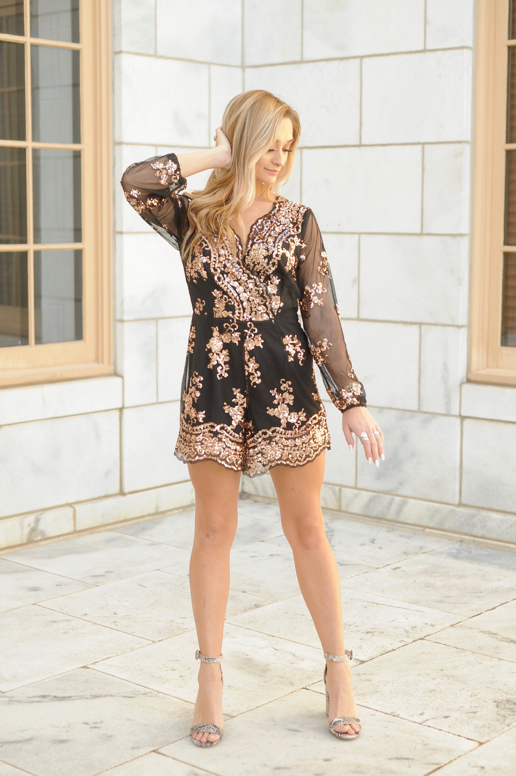 Mesh Sequin Scalloped Romper