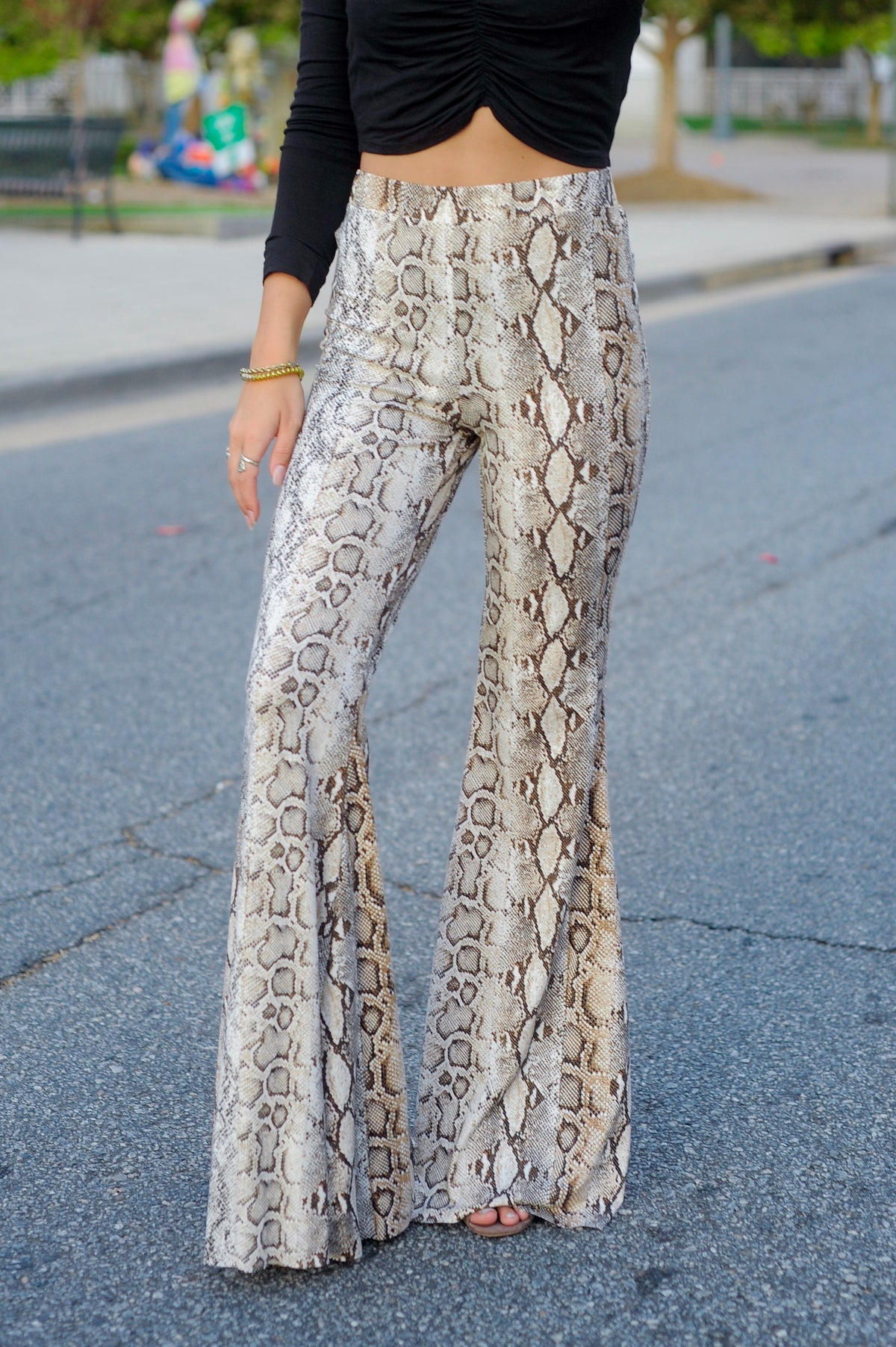 Snakeskin Bell Bottom Pants- Brown