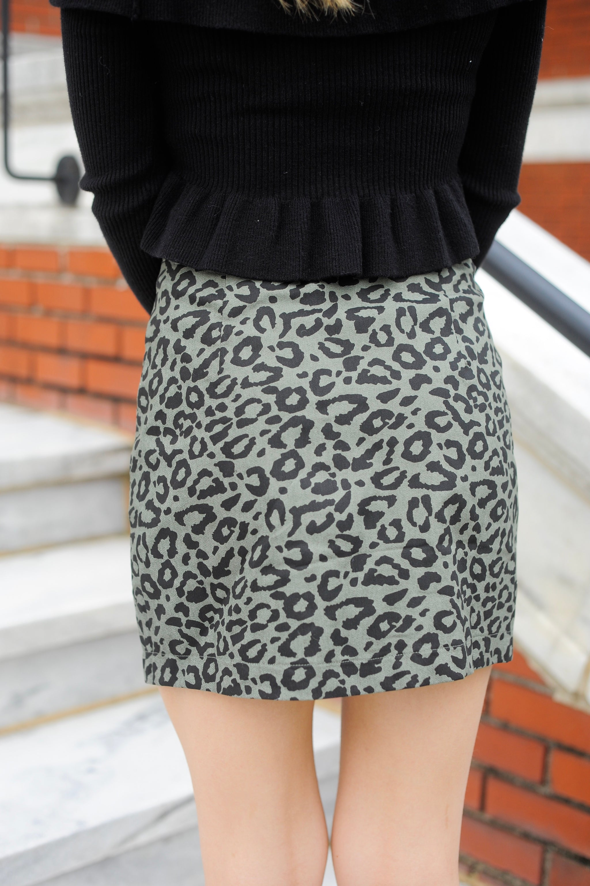 Olive Button Up Leopard Skirt