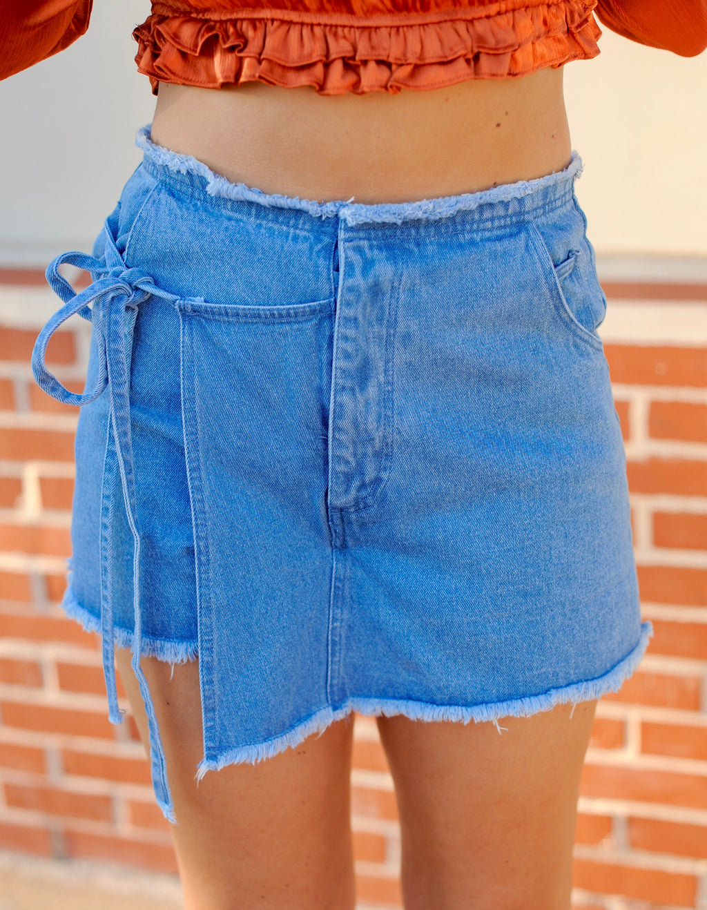 Light Denim Wrap Skort