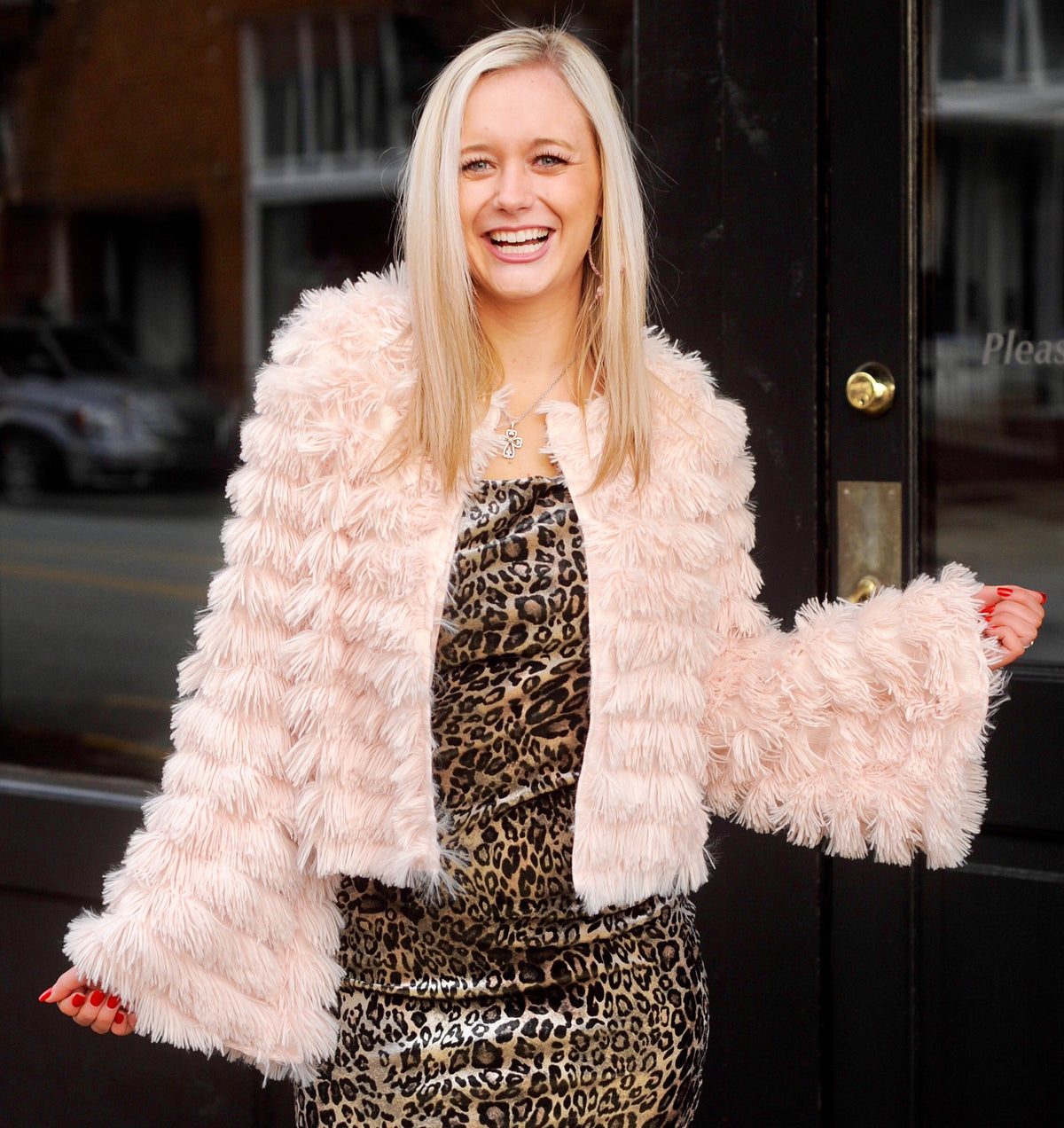 Pale Pink Shaggy Bell Sleeve Jacket