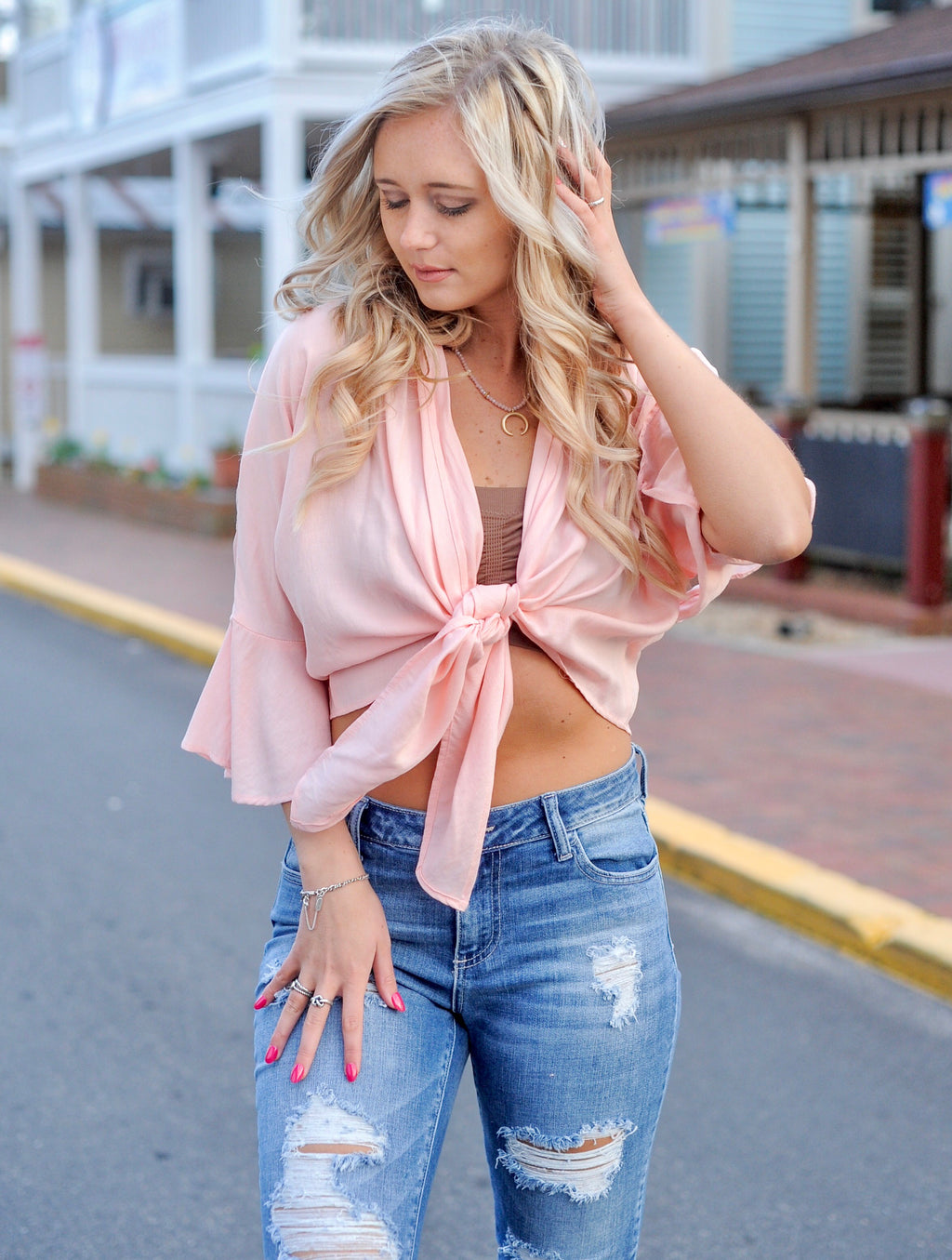 Front Tie Bell Sleeve Crop Top