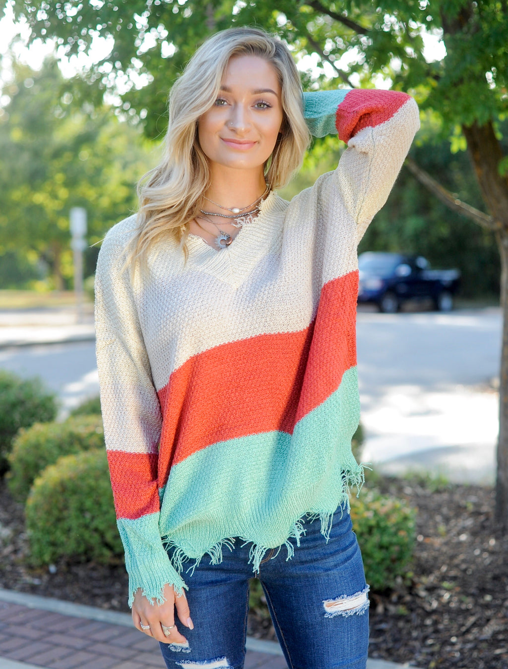Color Block Frayed Sweater
