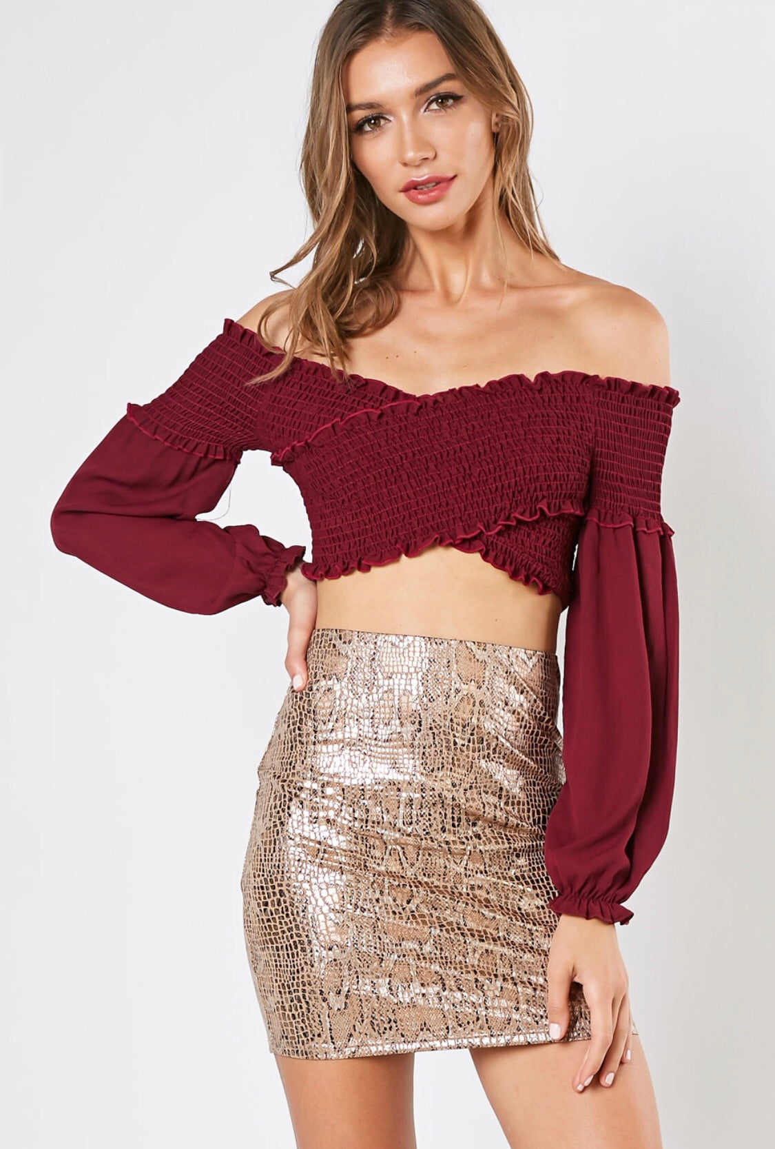 Smocking Poof Crop Top