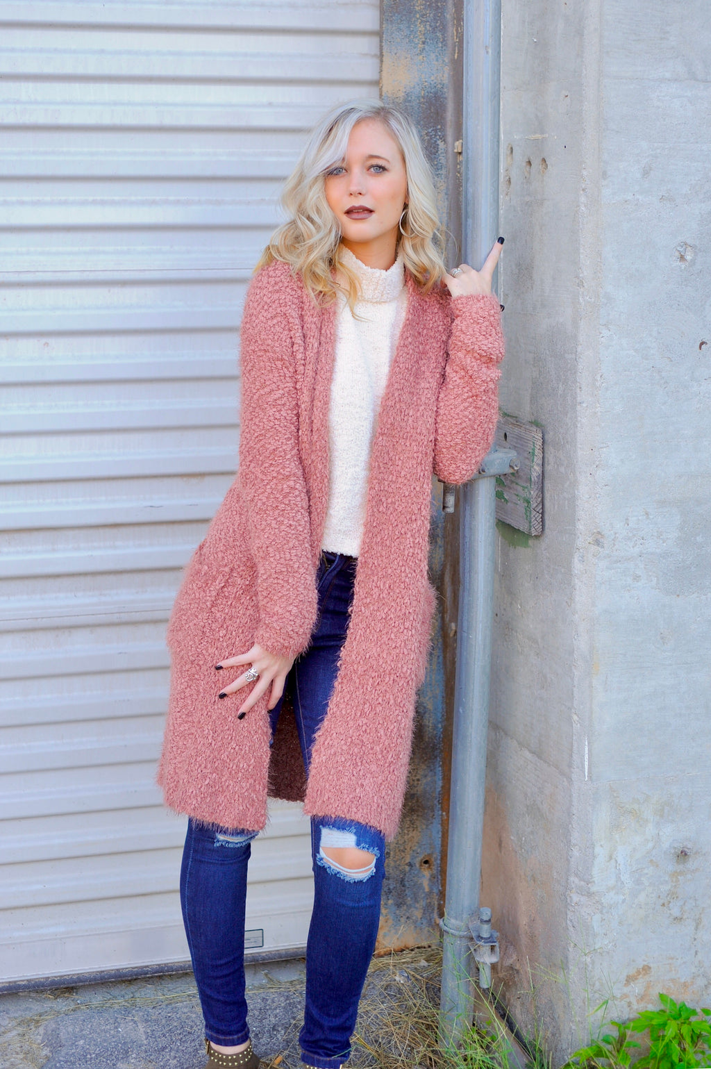 Popcorn Long Cardigan- Mauve
