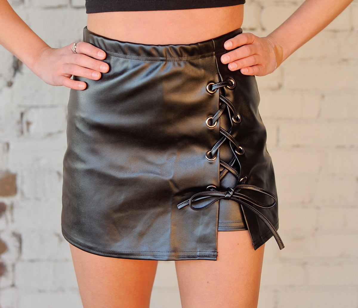 Lace Up Leather Skort
