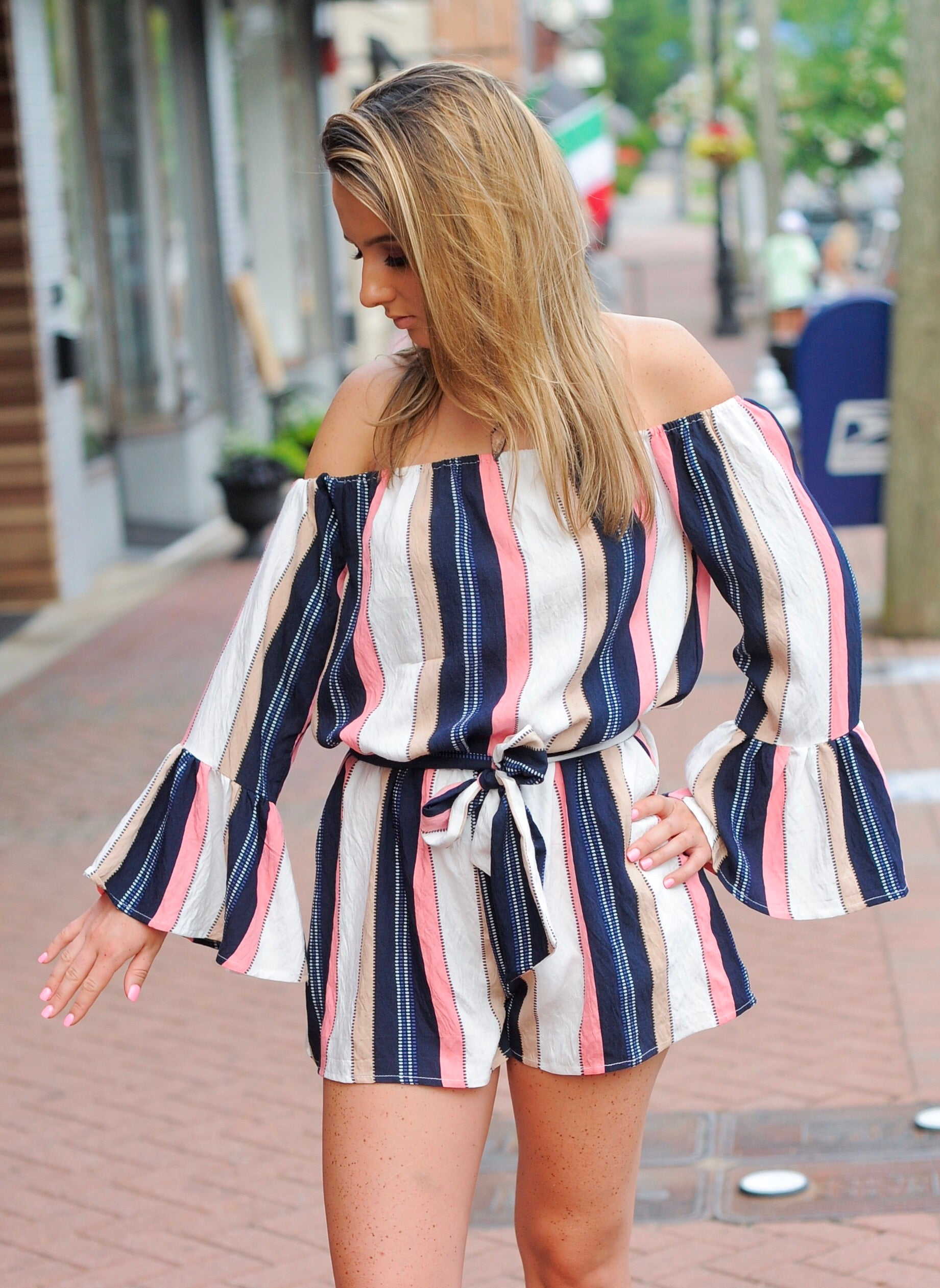 Navy Striped OTS Romper