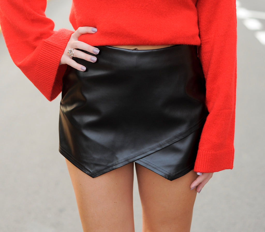 Leather Envelope Skort- Black