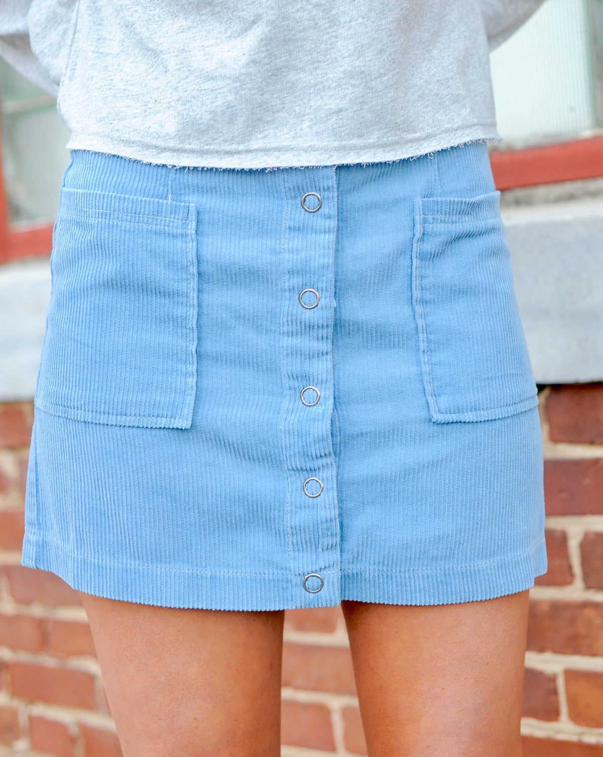 Corduroy Double Pocket Skirt- Blue