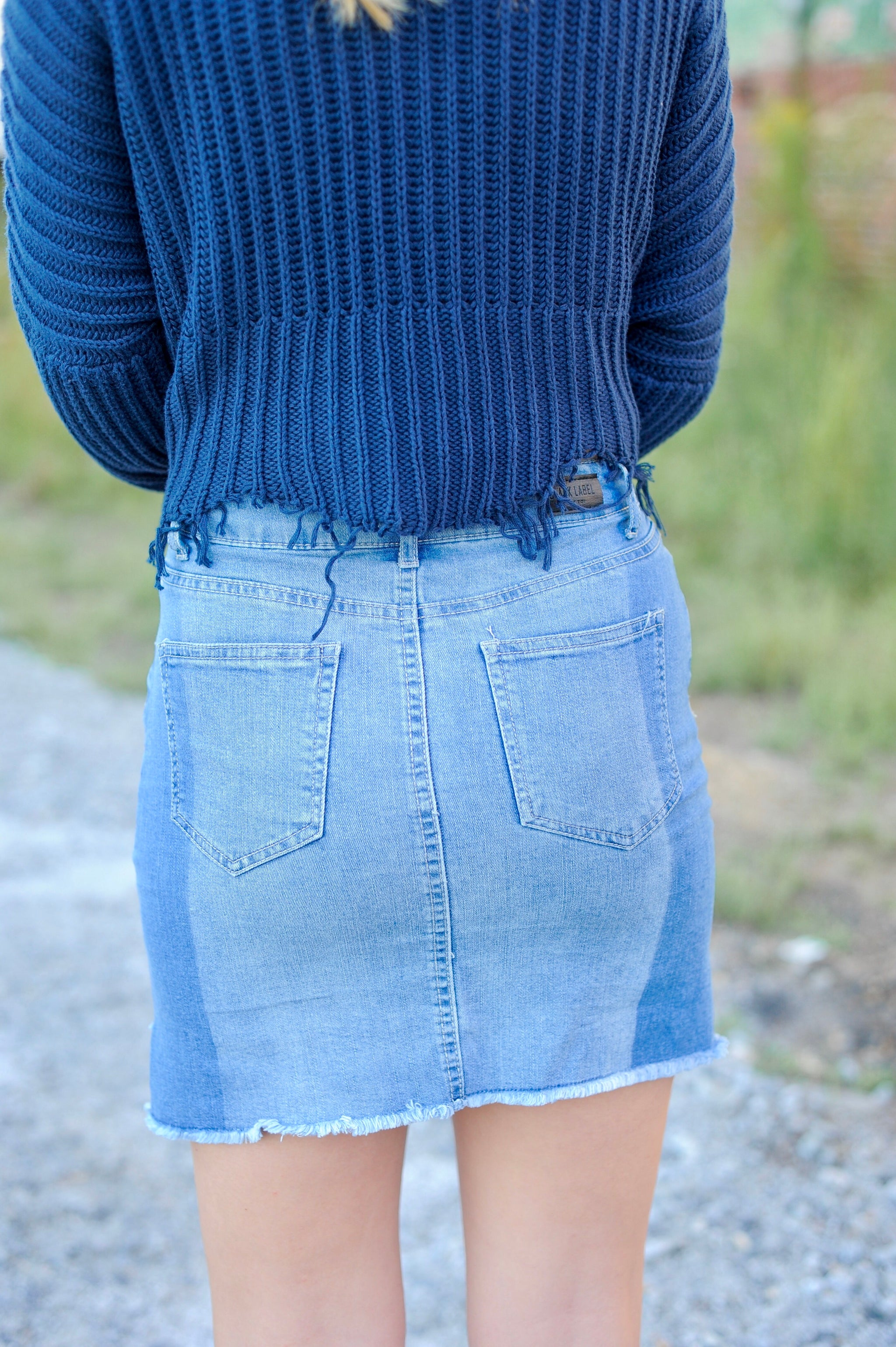Two Toned Hi-Low Denim Skirt