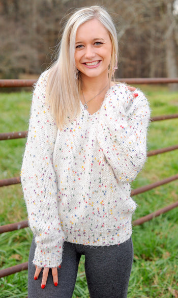 V Neck Long Confetti Sweater