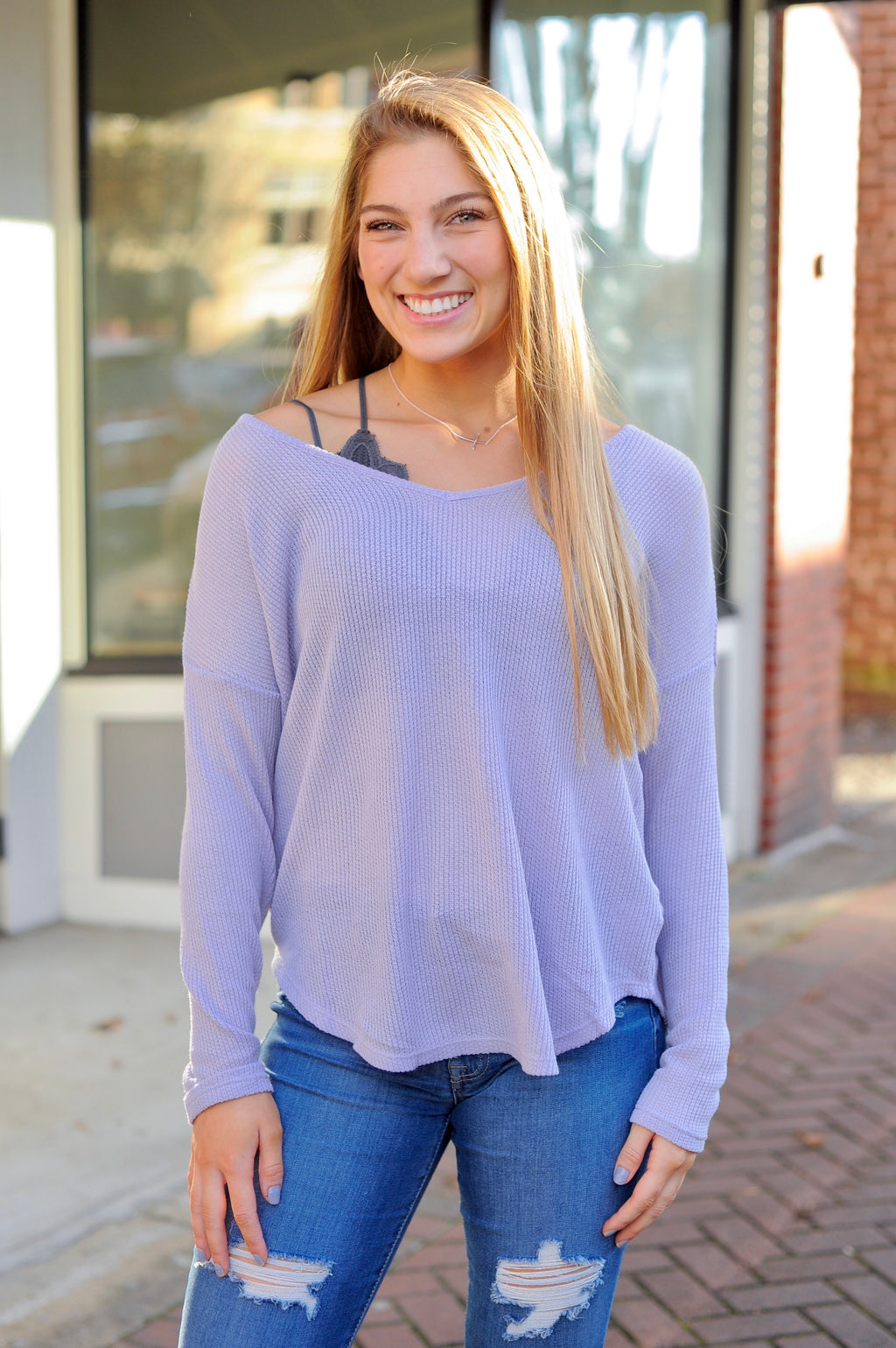 V Neck Lavender Thermal Top