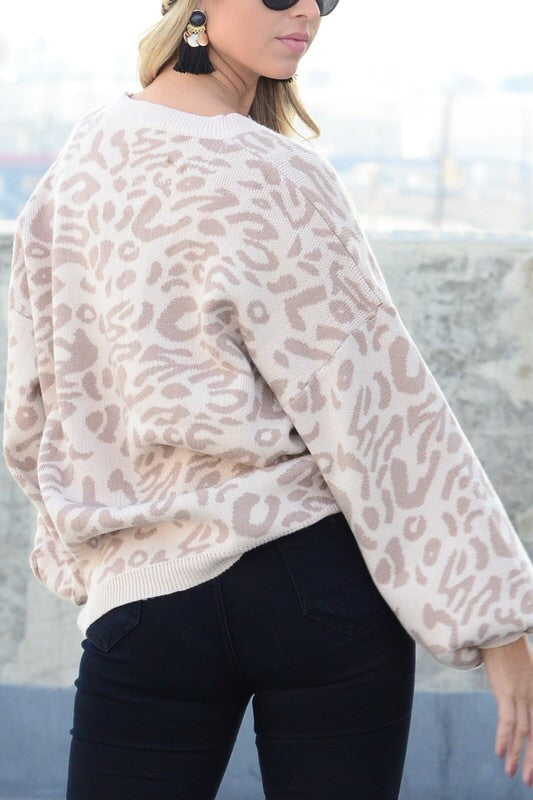 Leopard Printed Sweater - Khaki