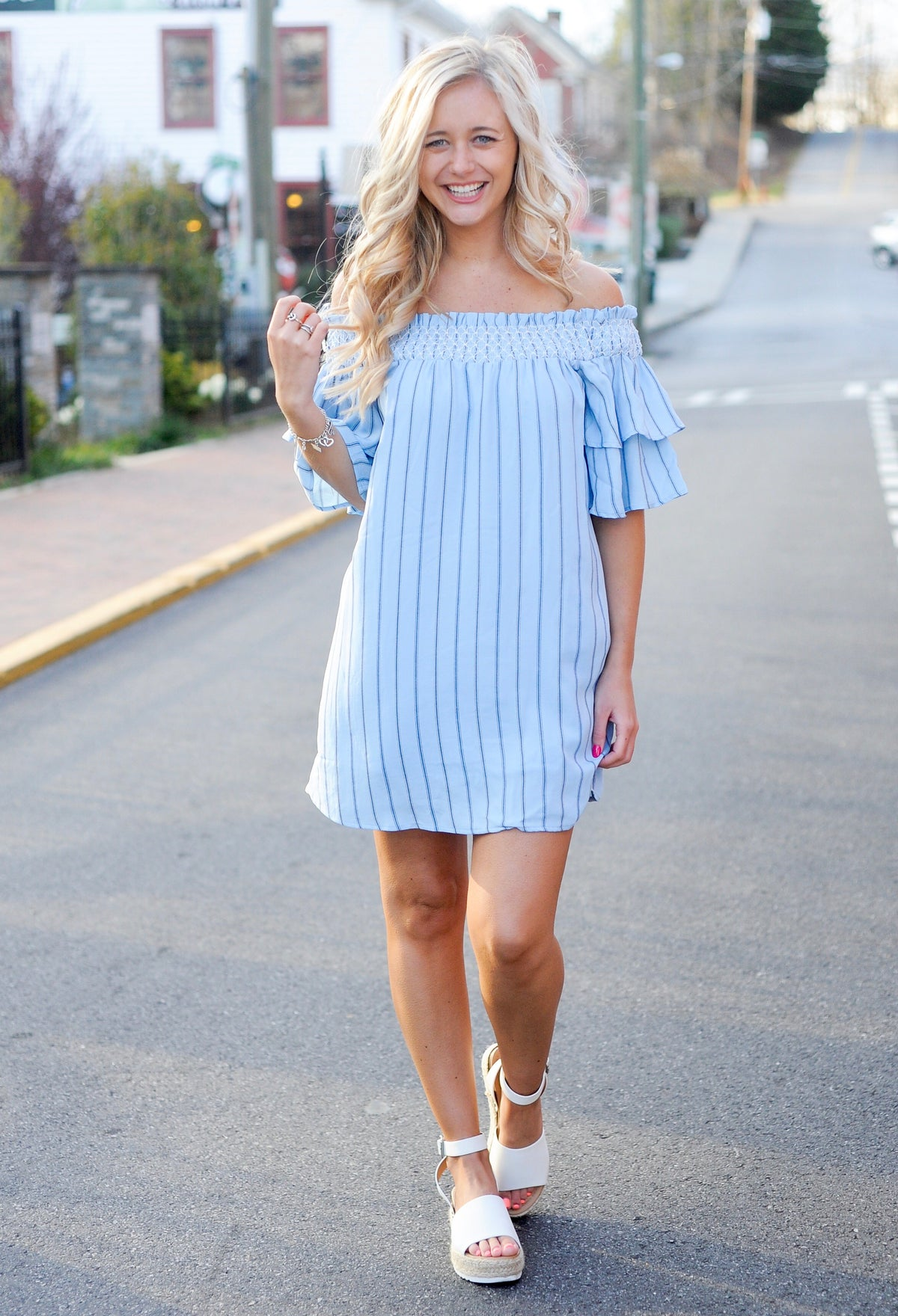 Blue Striped OTS Ruffle Dress