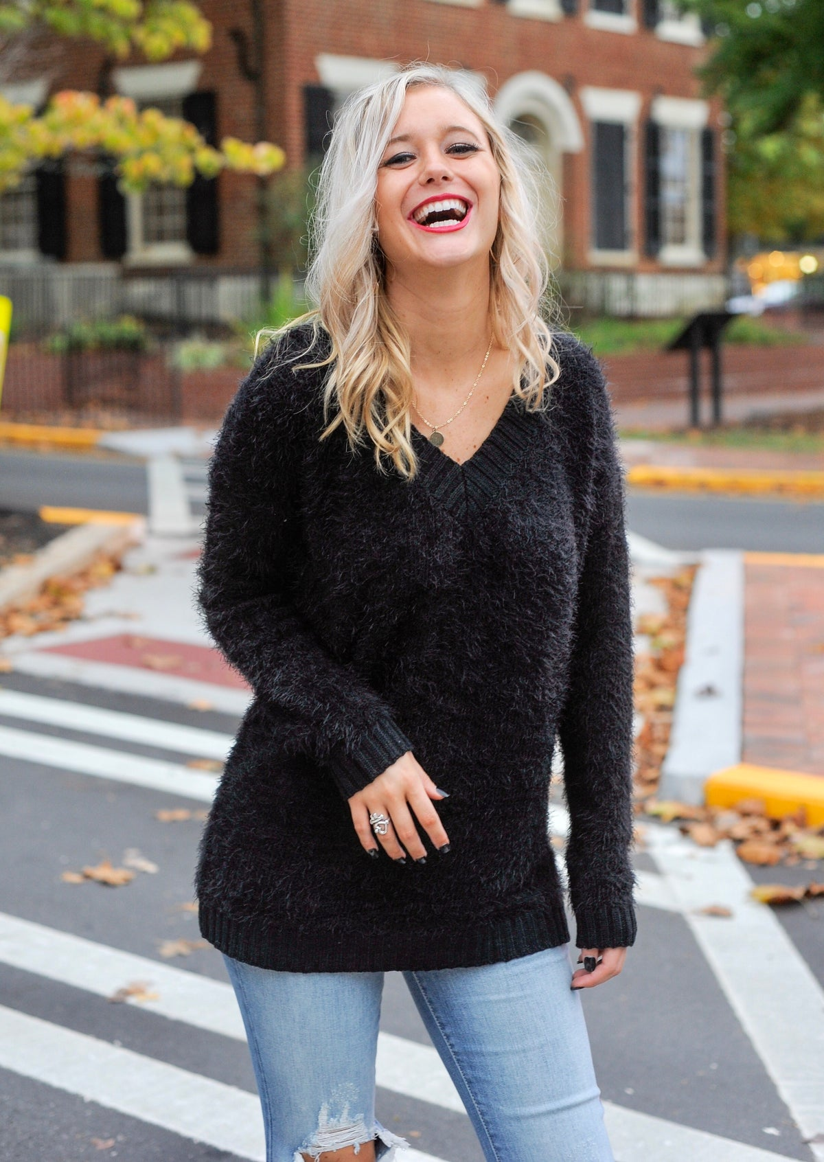 Eyelash Fur V Neck Sweater - Black