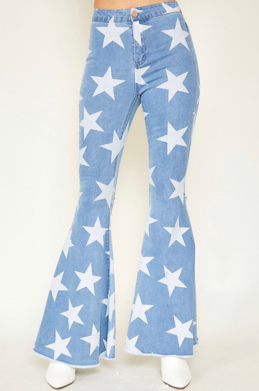 Star Print Flare Jeans
