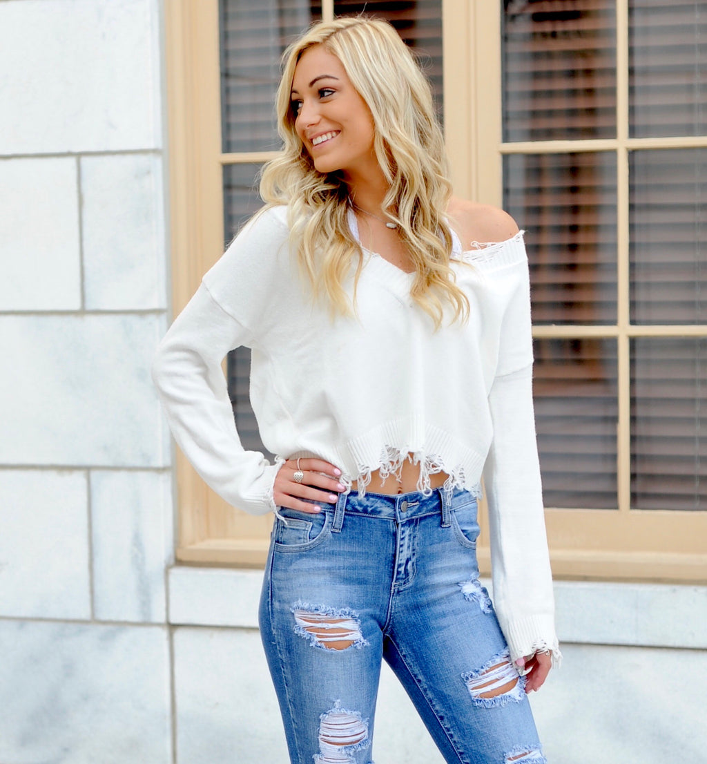 Distressed V Neck Sweater- White