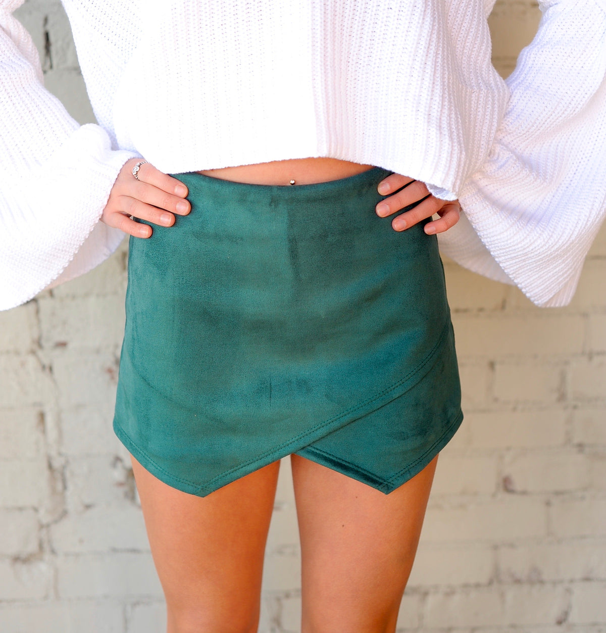 Suede Envelope Skort- Hunter Green