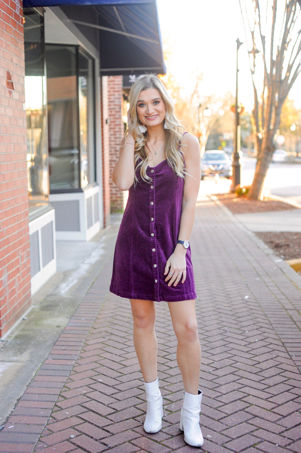 Purple Corduroy Dress