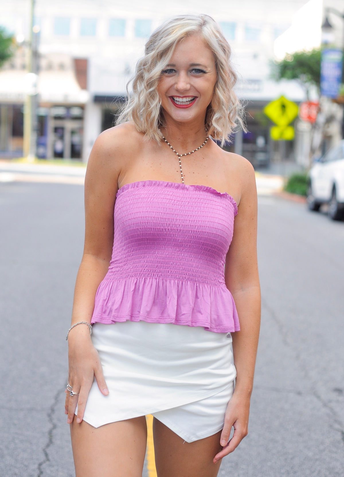 Orchid Strapless Ruffle Smock Top