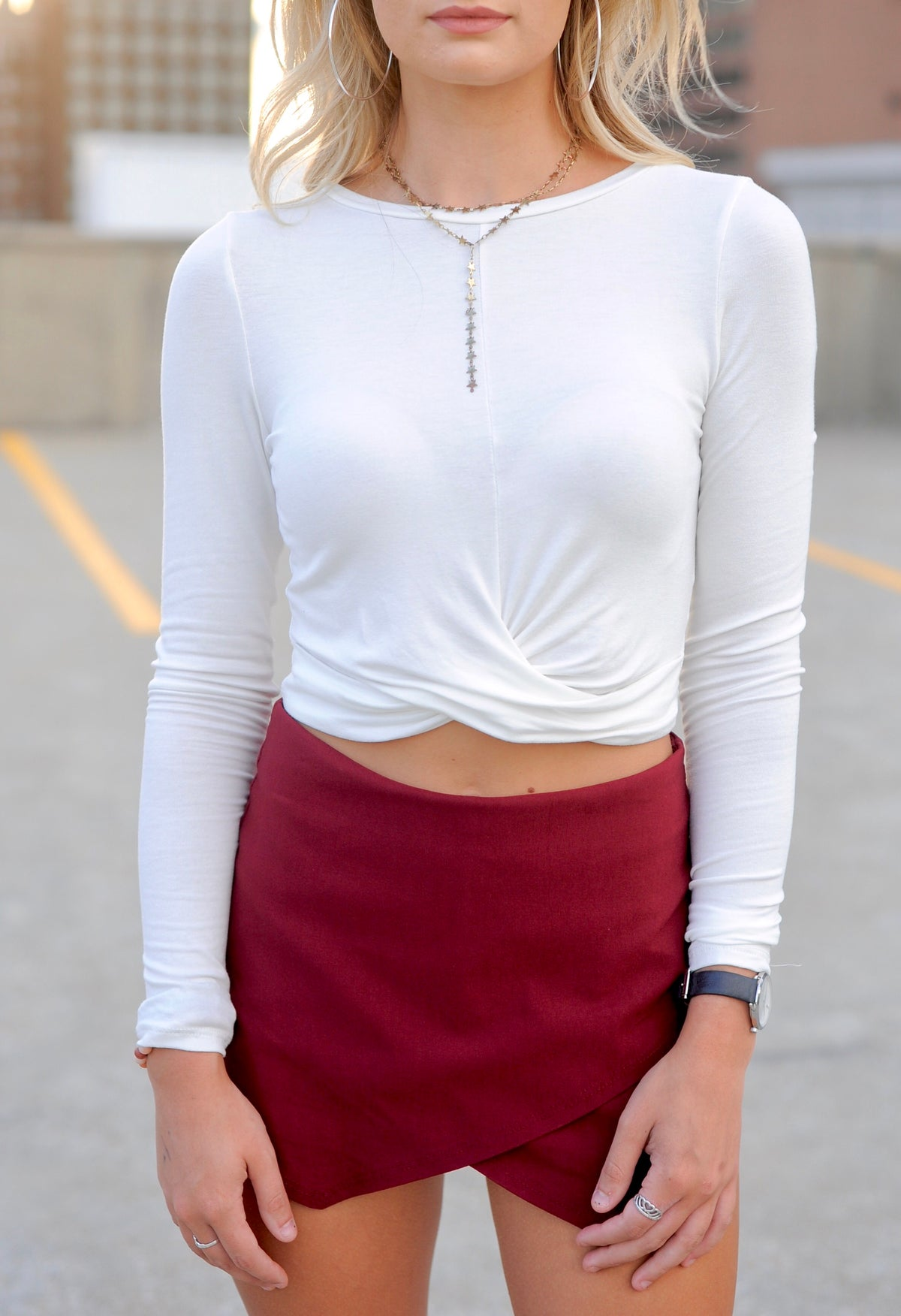 Cropped Twist Long Sleeve Top - White