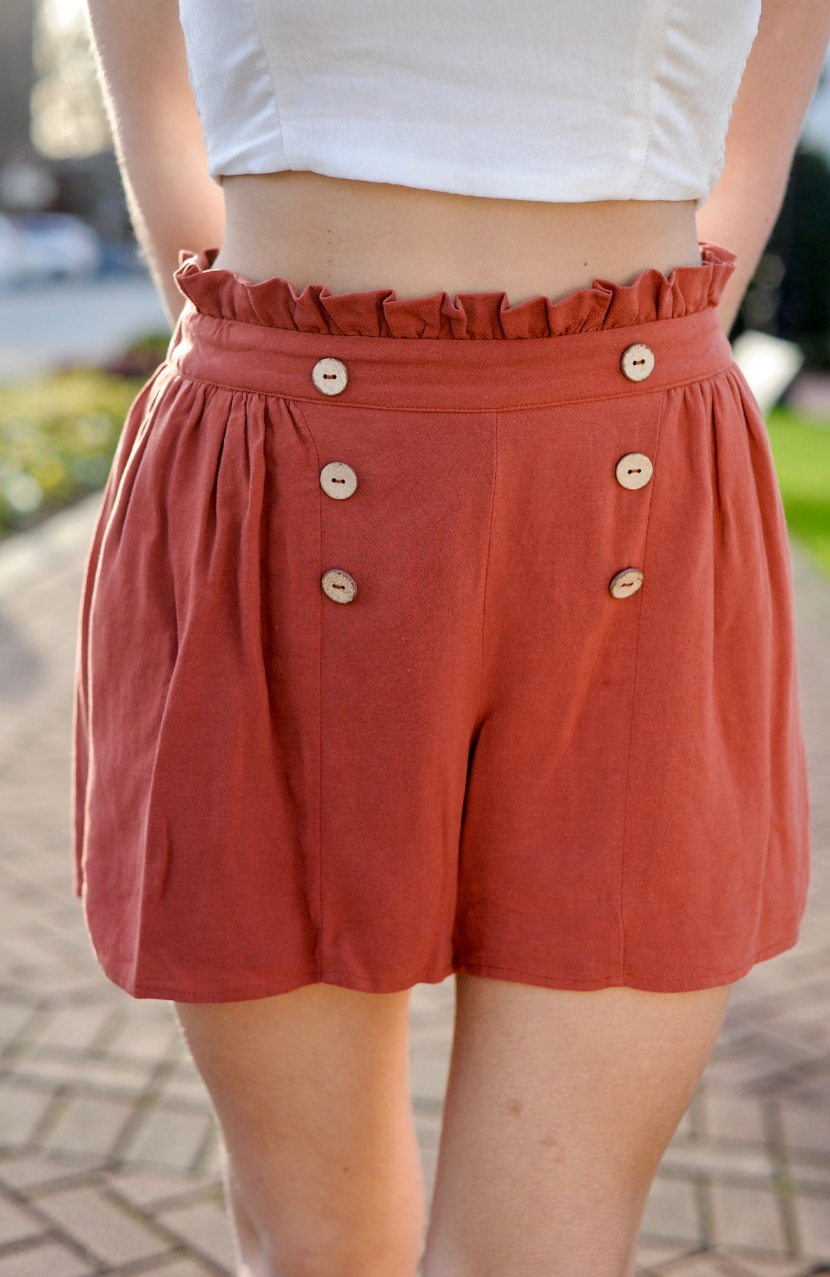 Paper Bag Button Detailed Shorts