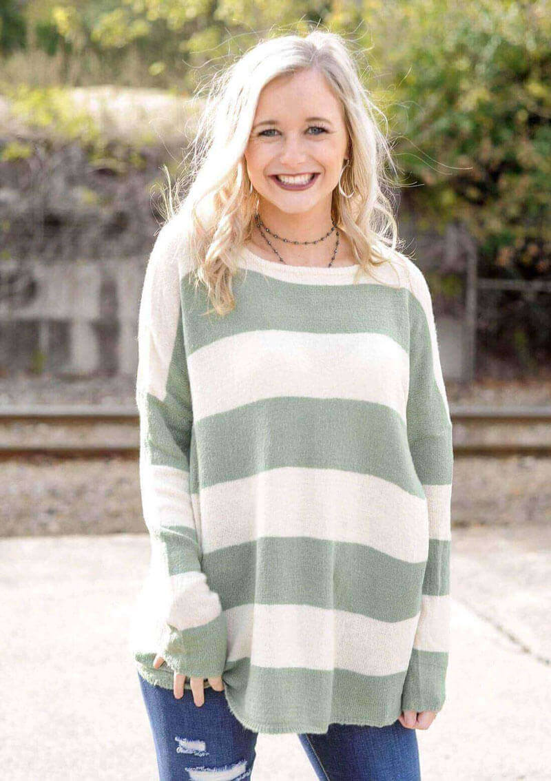 Faded Sage Striped Sweater