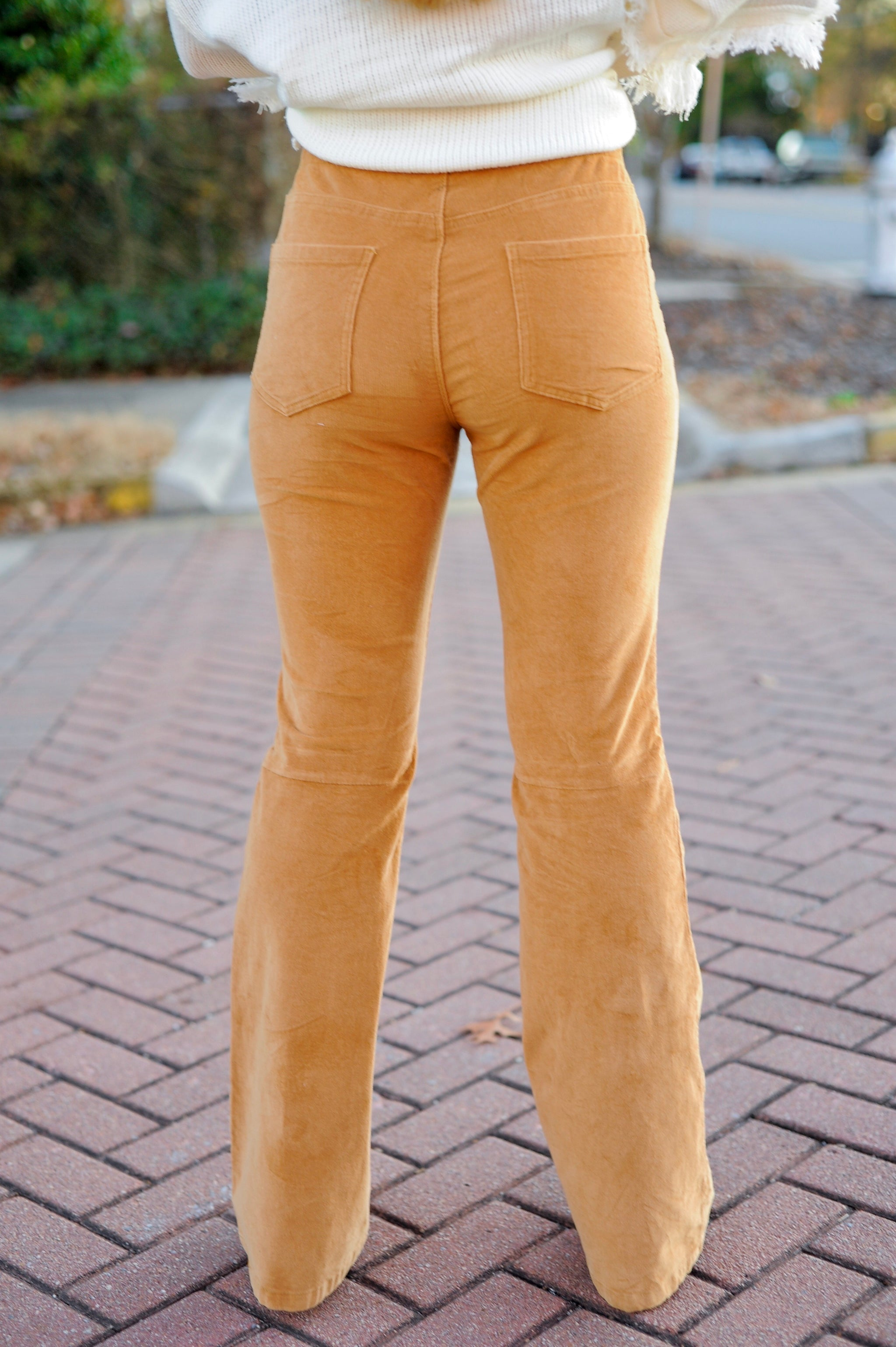 Camel Corduroy Flare Pants
