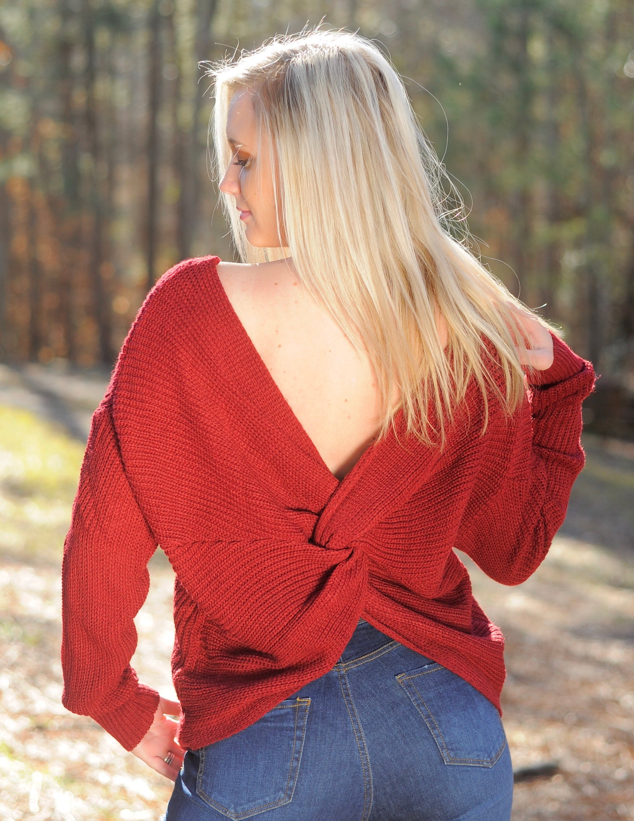 Twist Back Sweater - Burgundy