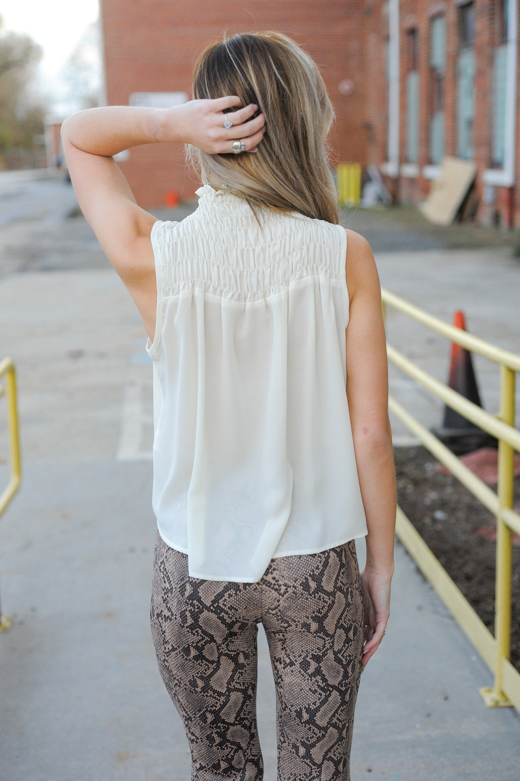 Smocked Turtle Neck Sleeveless Top