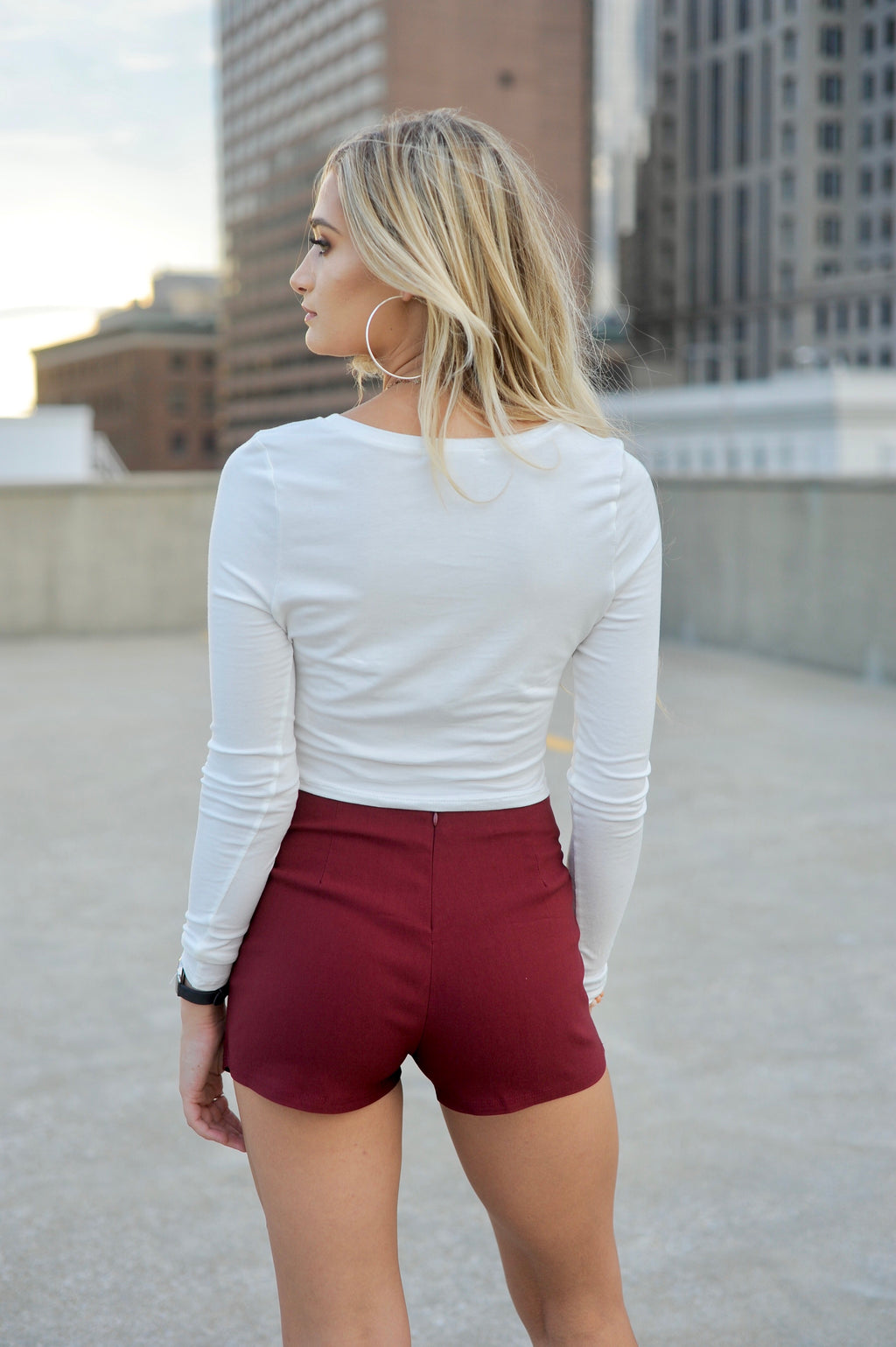 Basic Envelope Skort- Burgundy