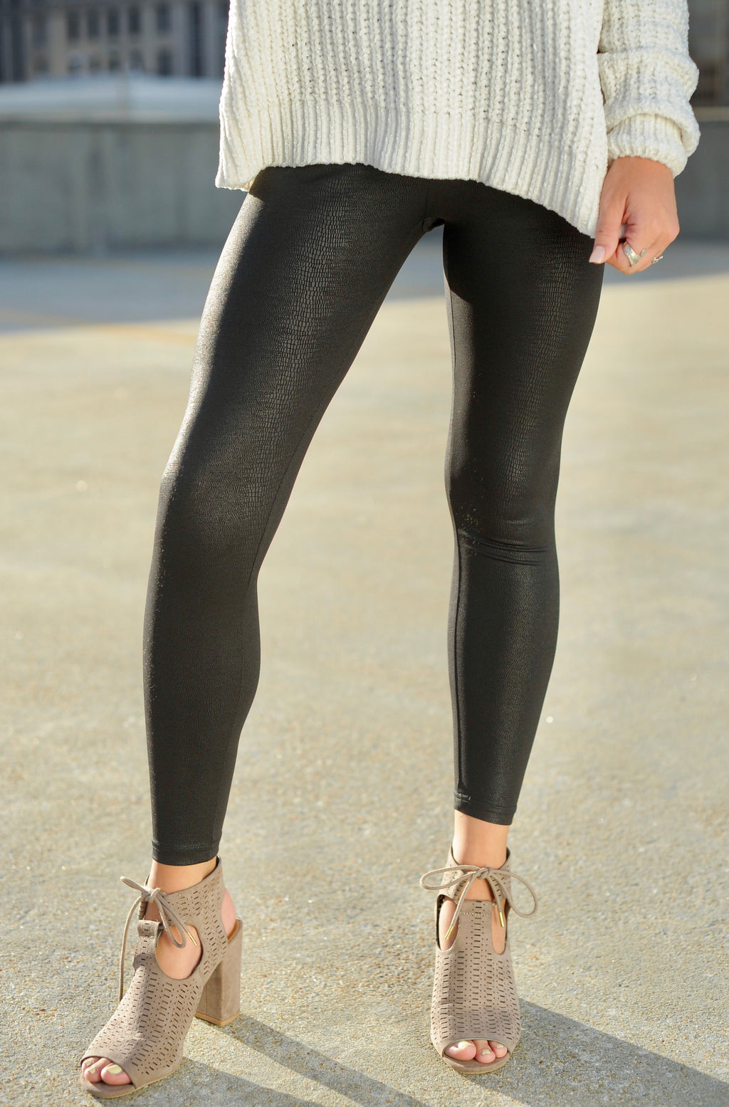 Snakeskin Leather Jeggings