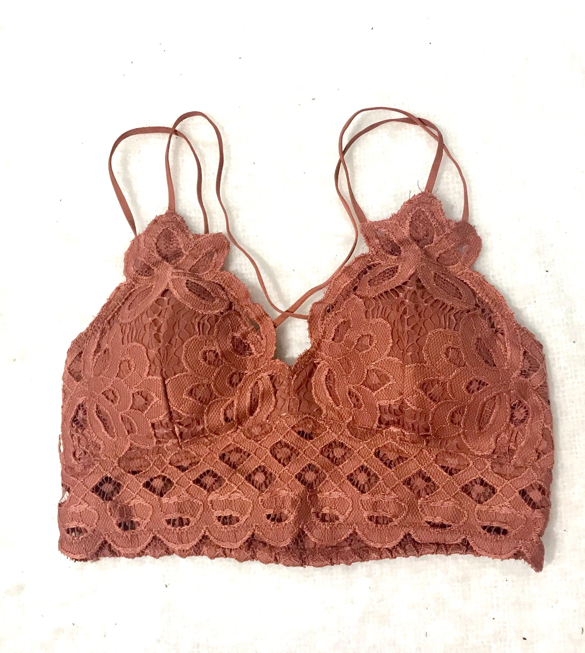 Double Strap Scalloped Lace Bralette - Coral