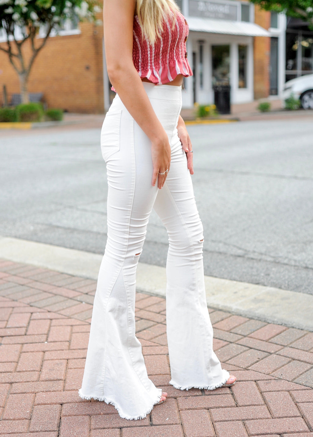 White Denim Bell Bottom Jeans