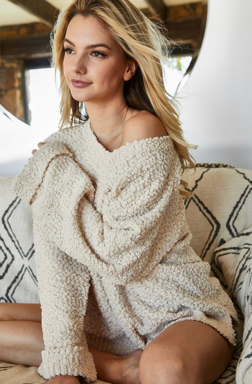 Taupe Popcorn Sweater