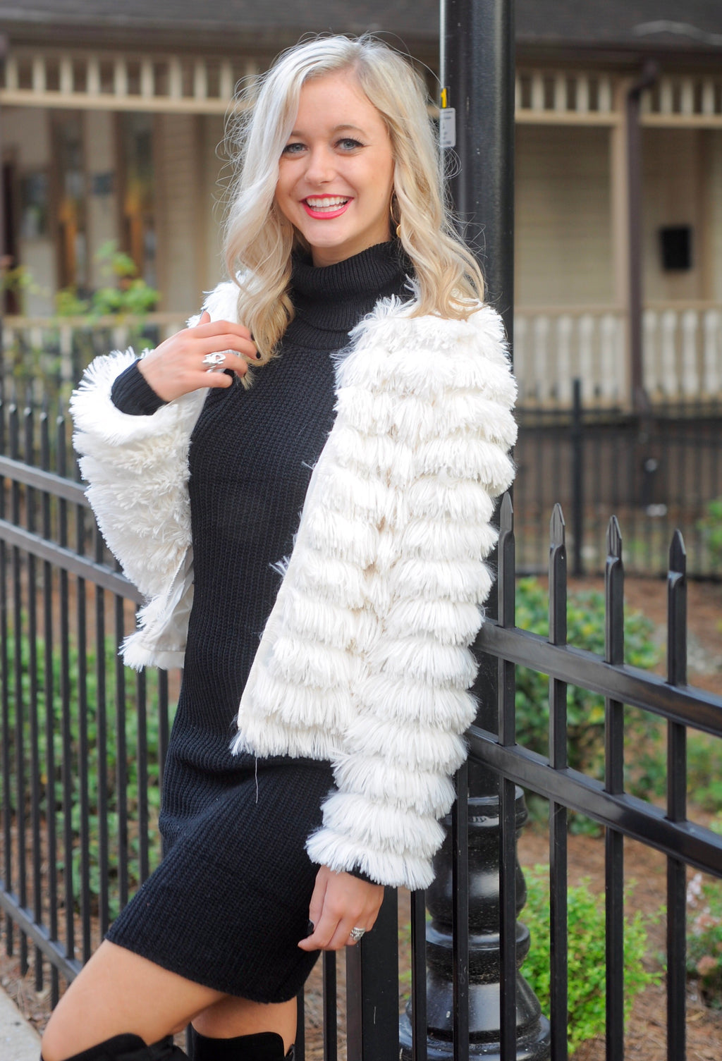 Angelina Furry Jacket, Ivory Faux Fur Coat, Trendy Women's Jacket