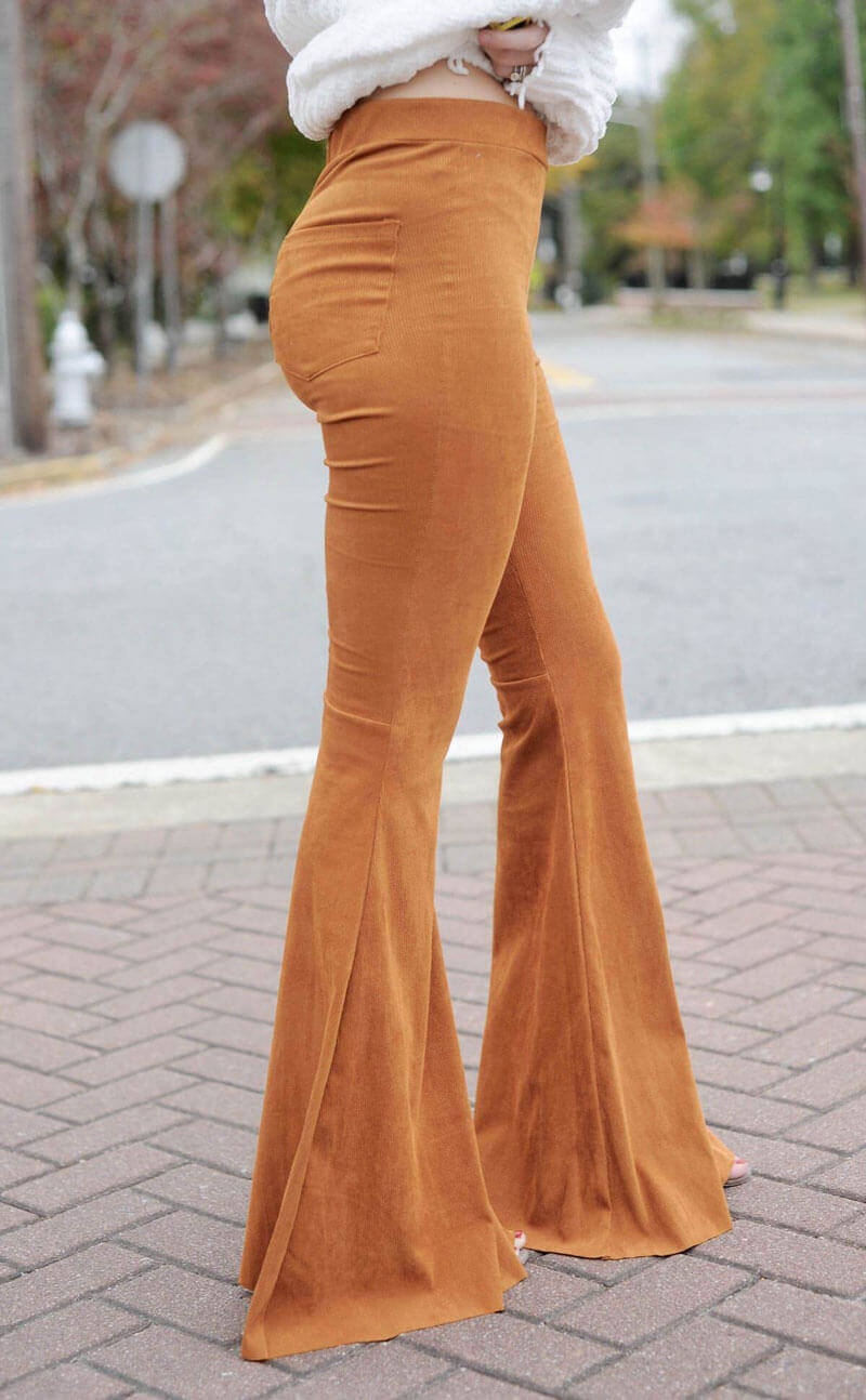 Caramel Stretch Corduroy Bell Bottom Pants