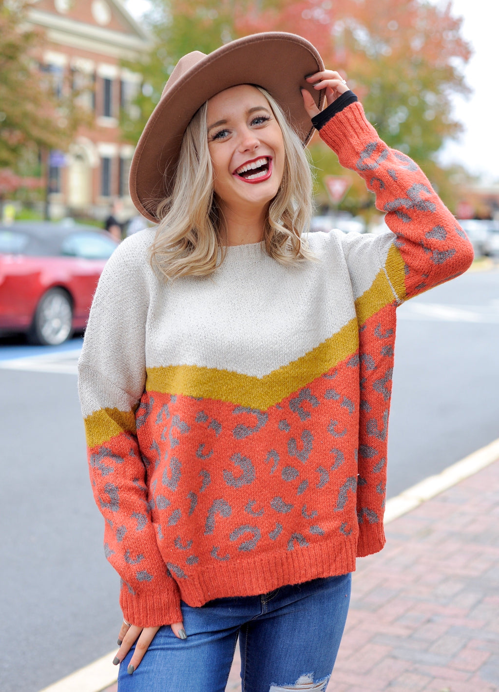 Spicy Rust Leopard Sweater
