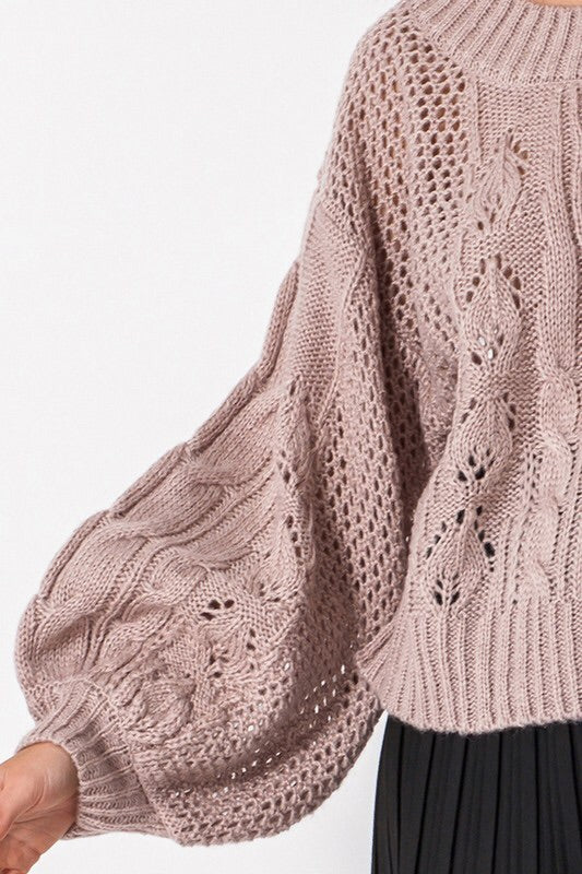 Round Neck Bubble Sleeve Sweater