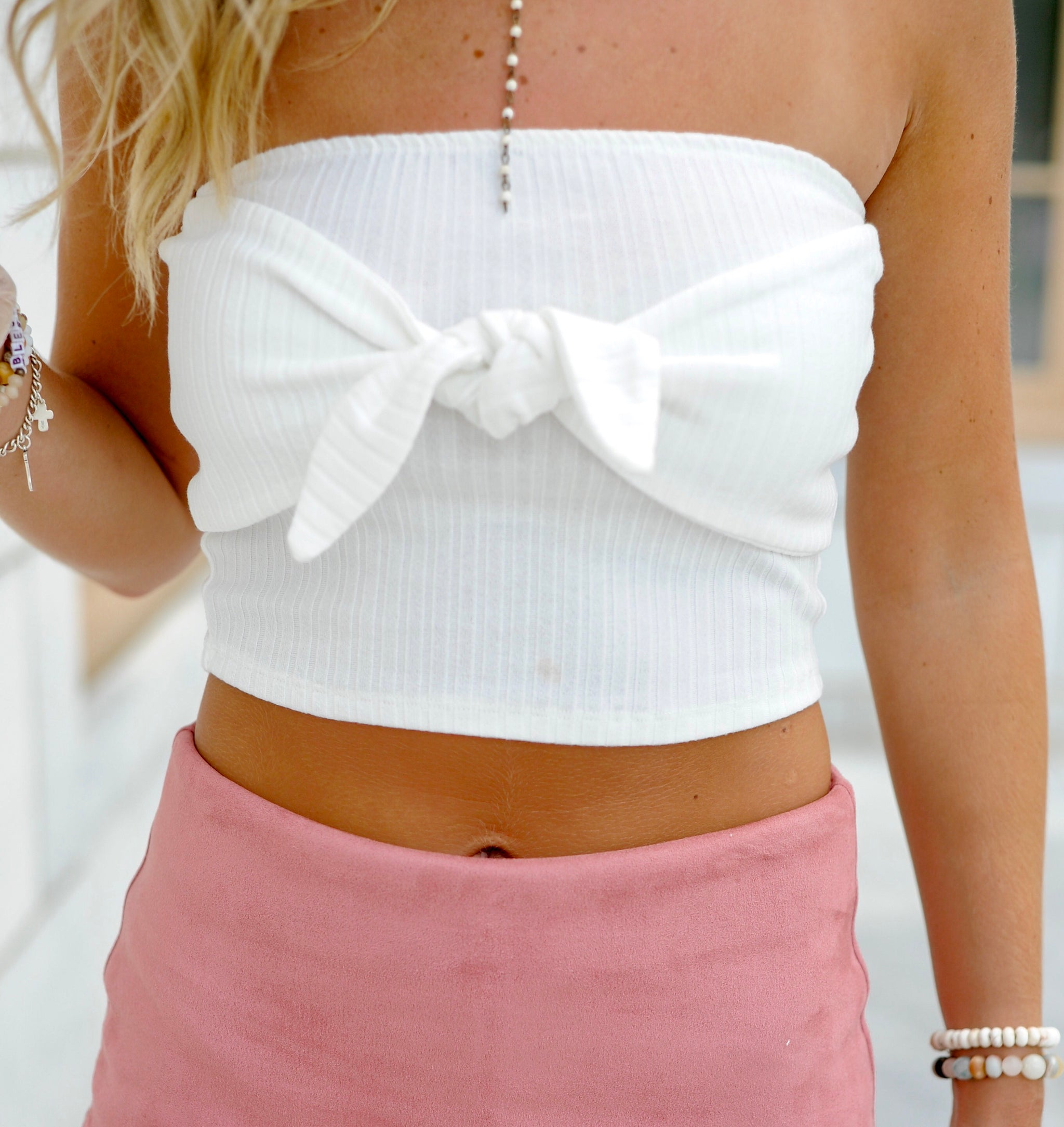 468064a65ba Bow Tie Cropped Tube Top- White