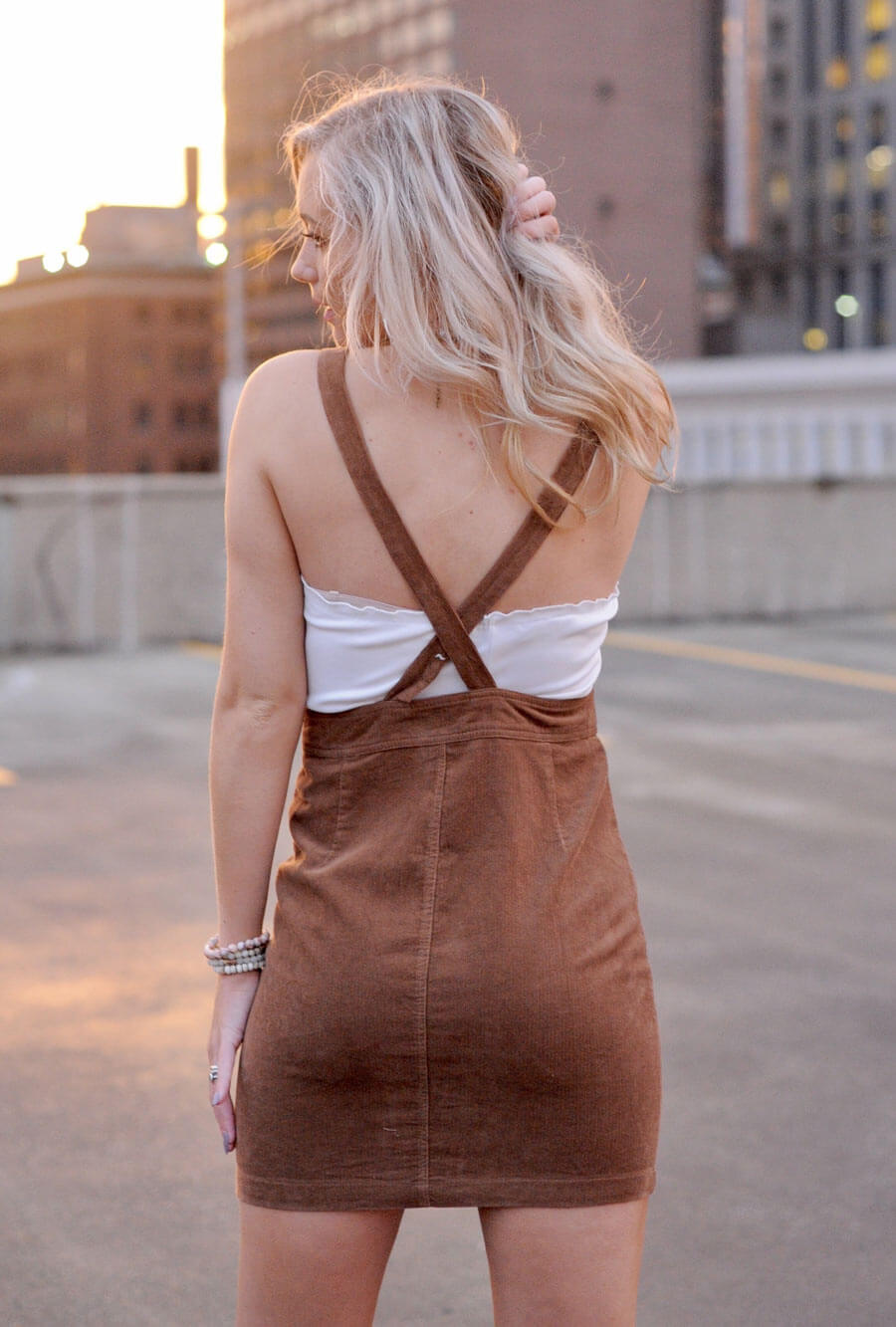 Camel Corduroy Overall Dress