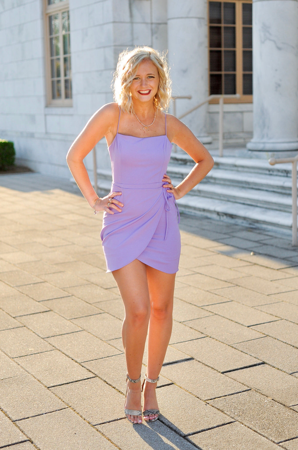Open Back Purple Wrap Dress