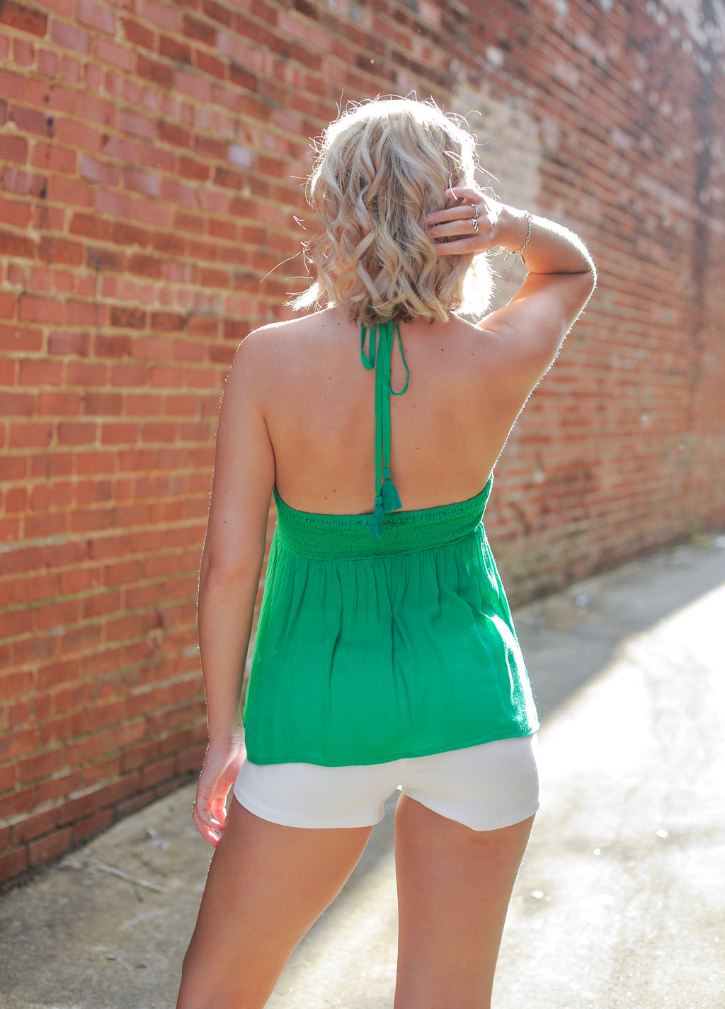 Green Floral Embroidered Tank Top