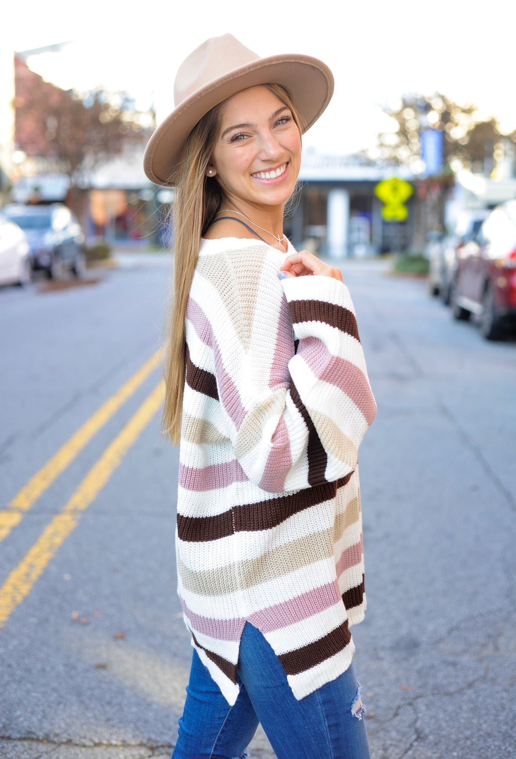 Multi Stripe Bell Sleeve Sweater