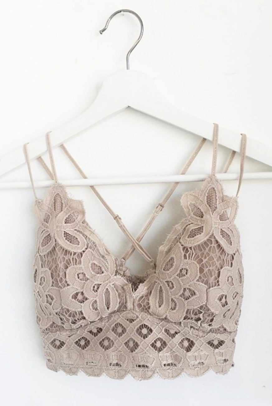 Double Strap Scalloped Lace Bralette - Light Taupe