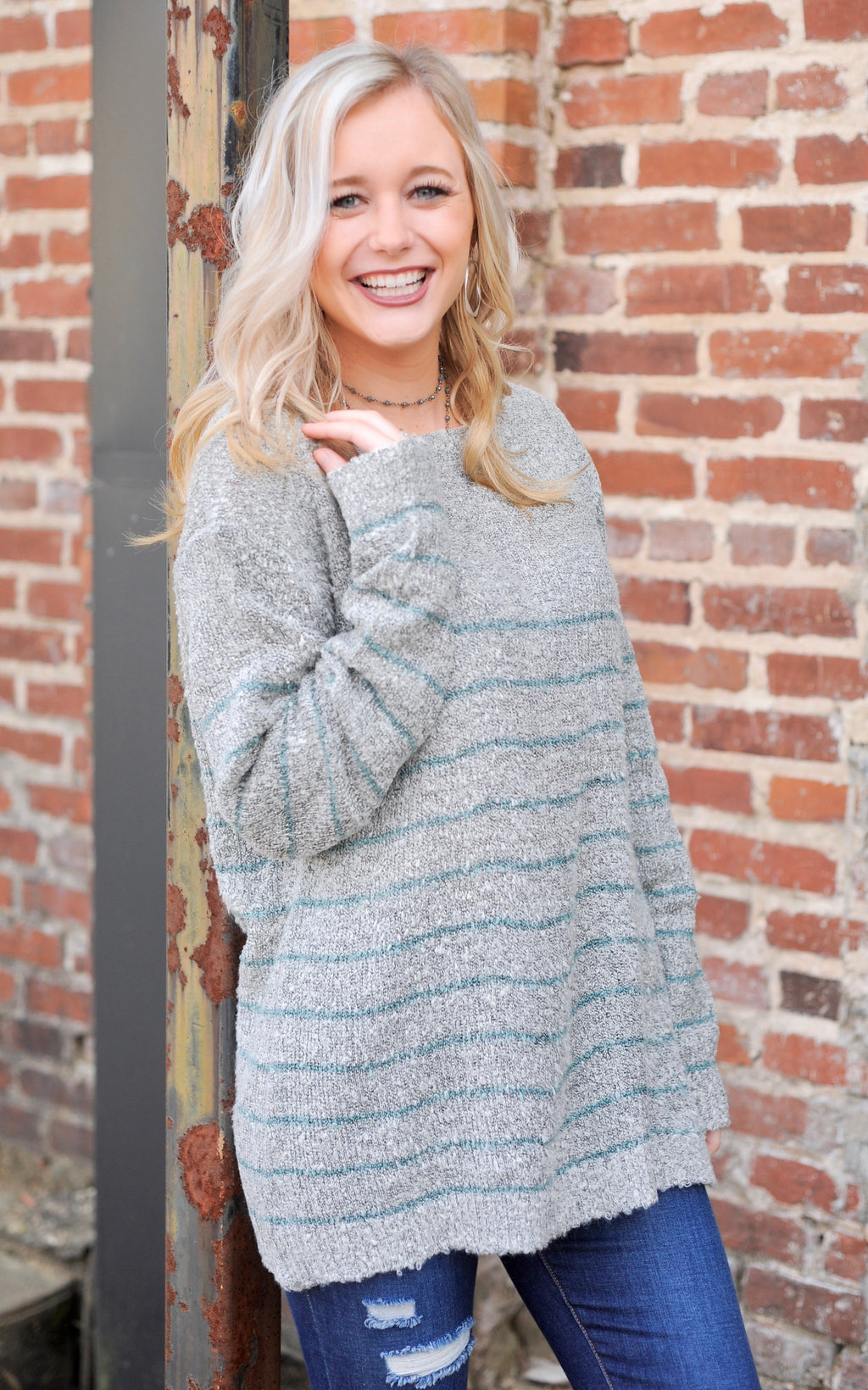Heather Grey/Teal Striped Sweater