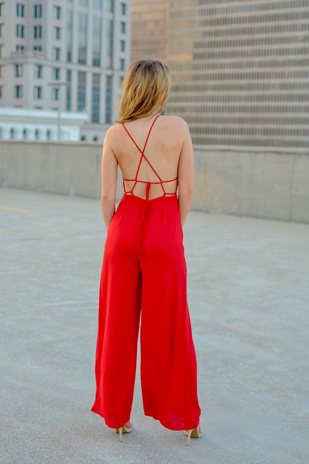 Red Spaghetti Jumpsuit