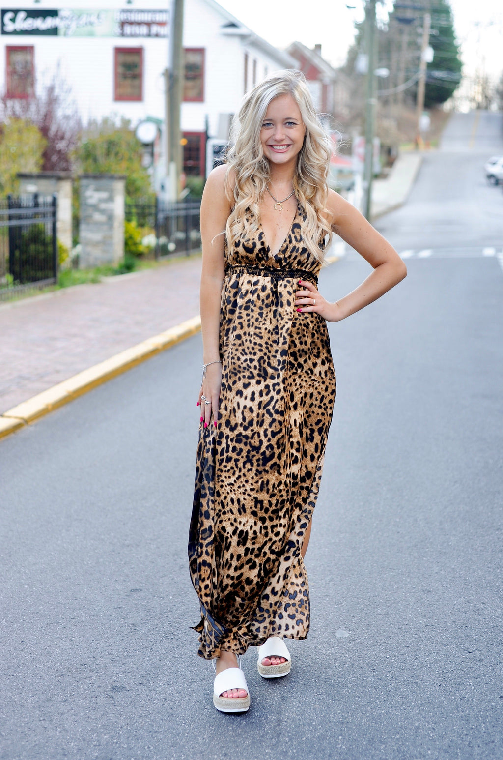 Satin Leopard Maxi Dress